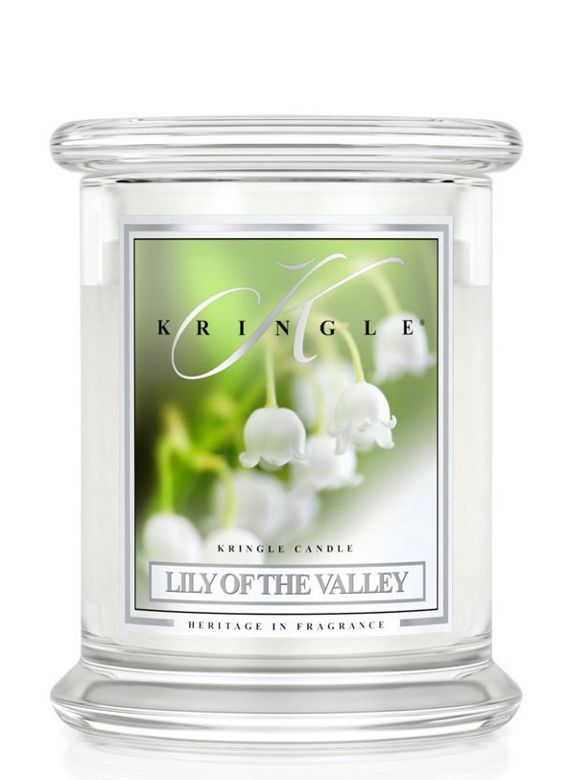 Medium 2 wick Classic Apothecary Jar Kringle Candle Konwalia Lily of the valley