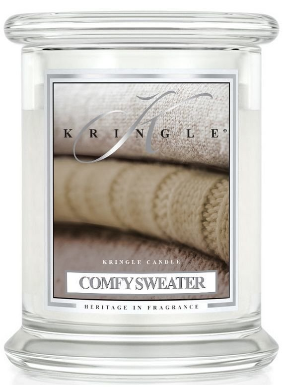 Medium 2 wick Classic Apothecary Jar Kringle Candle Wygodny Sweter Comfy Sweater
