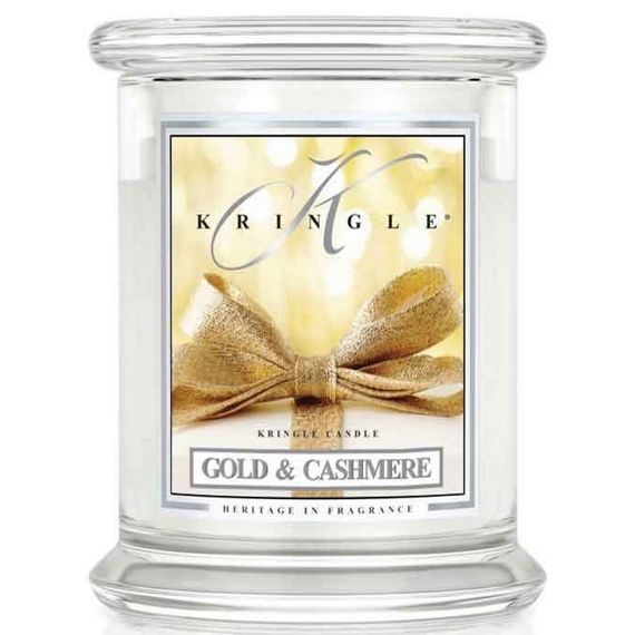 Medium 2 wick Classic Apothecary Jar Kringle Candle Złoto i kaszmir  Gold & Cashmere